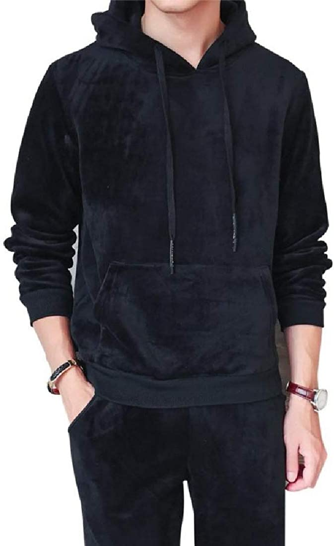 Tootless-Men Thermal Relaxed-Fit Gold Velvet Big /& Tall Sweatsuit