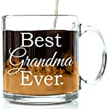 Best Grandma Ever Glass Coffee Mug 13 oz - Top Birthday Gifts For Grandma - Unique Gift For Her - Novelty Christmas and Grandparents Day Present Idea For Grandmother from Grandson or Granddaughter