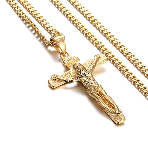 Ladies Crucifix (Cross Necklace, Heraculs Stainless Steel Jesus Christ Cross Crucifix Pendant for Mens Womens 24 inches Gold)