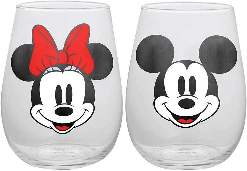 Disney Mickey and Minnie Mouse Stemless Wine Glasses, Set of 2