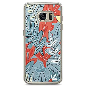 Samsung Galaxy S7 Transparent Edge Phone Case Jungle Phone Case Pattern Grey Leafy Phone Case Leaf Phone Case Png
