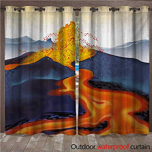 WilliamsDecor Volcano Outdoor Curtain for Patio Vibrant Graphic Display of Eruption Natural Disaster Molten Hot Lava W84 x L96(214cm x 245cm)
