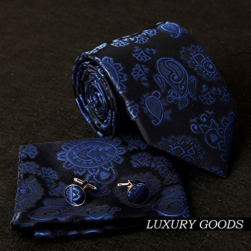 EAC1048 Blue Pattern Travel Gift Idea Silk Necktie Handkerchiefs Cuffilinks Working Day Designer Set By Epoint by Epoint (Image #3)