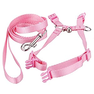 Polkar Adjustable Pet Rabbit Walking Harness Leash Lead with Small Bell 1