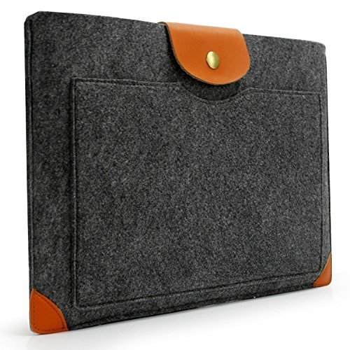 Lavievert Handmade Gray Felt Case Leather Corner Bag Sleeve with Leather Flap Magnetic Button for Apple 15 MacBook Pro / 15 MacBook Pro Retina and M…