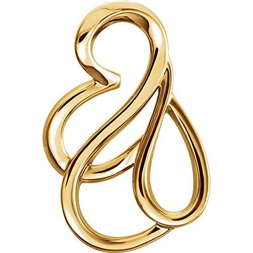 Gold Bracelet Slide Cameo (C.Hersh Women's 14k Yellow Gold Polished Freeform Chain Slide Pendant – (1.204 DWT/1.87 Grams))