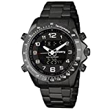 INFANTRY Big Face Mens Military Tactical Watch Black Stainless Steel Wrist Watches for Men