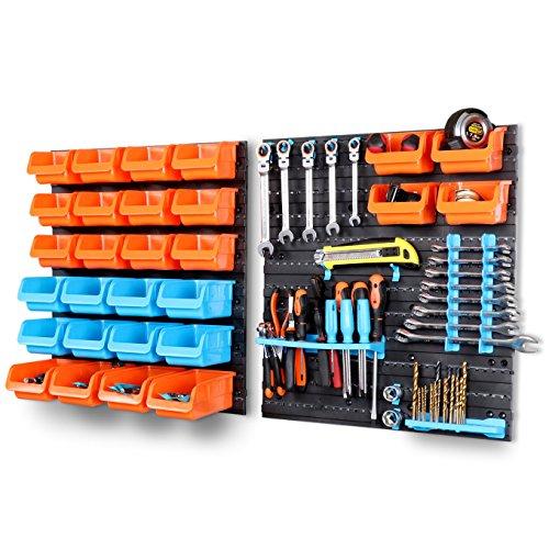 HORUSDY Wall Mounted Storage Bins Parts Rack 44 Bin Organizer Garage Plastic Shop Tool(44-Piece) (Tool Organizer Plastic)