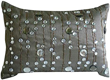 Amazon Com The Homecentric Designer Grey Lumbar Pillow Cover Lined Crystals Sparkly Pillows Cover 12x16 Inch 30x40 Cm Lumbar Pillow Cover Rectangle Silk Lumbar Pillow Cover Modern Lumbar Diamond Dreams Home