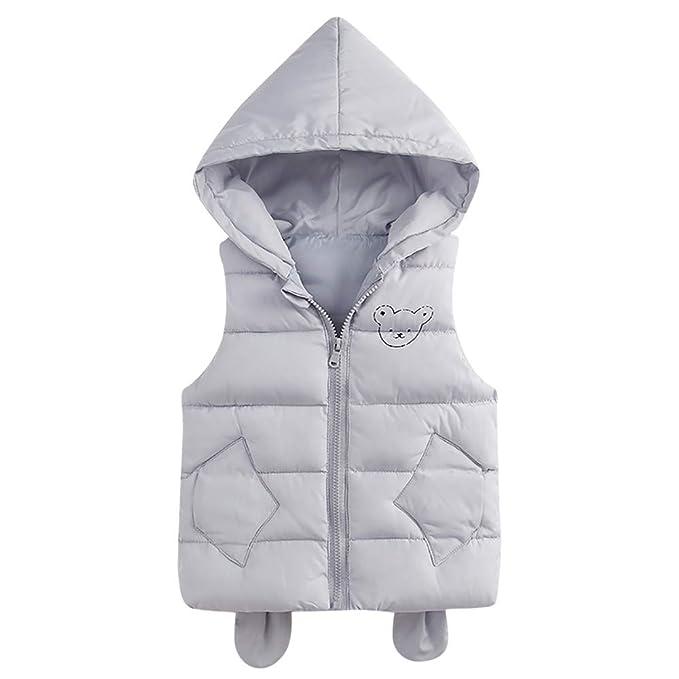 Ropa Bebe, ASHOP Sudaderas sin Mangas con Capucha Abrigos Chaqueta de Algodon Acolchado Invierno Otoño