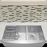 Firebird 33'' x 20'' x 9'' Apron Farmhouse Handmade Stainless Steel Double Bowl 60/40 Kitchen Sink w/ Drain Strainer Kit Adjustable Tray