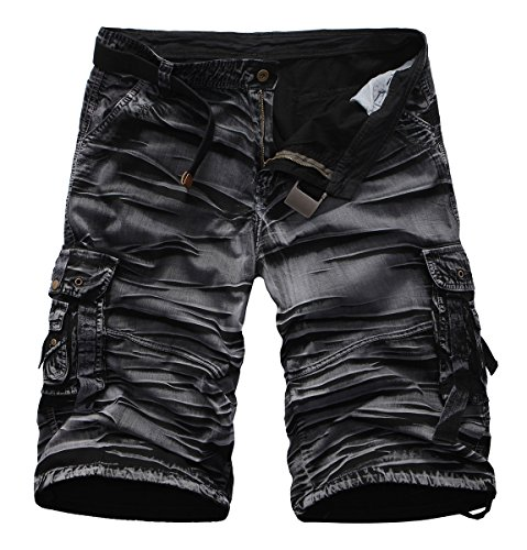 Focus Cargo - Clardy Men's Casual Multi Pocket Cargo Shorts (32, Black#1)