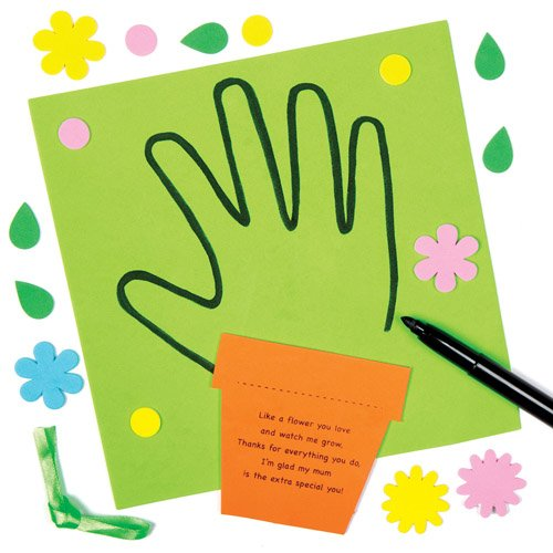 Mothers Day Handprint Poem Decoration Kits for Children to Make and Decorate - Creative Kids Craft Set (Pack of (Mothers Day Handprint)