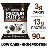 Shrewd Food Low Carb Protein Puffs Cookies and Cream 8 Pack | 112g Protein (14g per Serving), 3g Carbs | High Protein, Gluten Free Snacks | No Artificial Flavors | Soy Free, Peanut Free