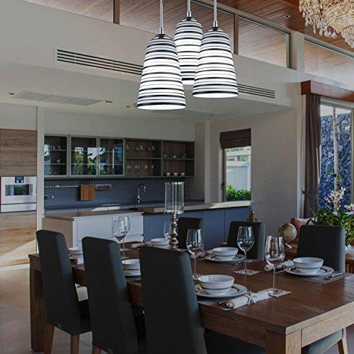Elitlife Modern Multi-Light Pendant Light With 3-light 3x5W Bulb Elegant Chandelier Hanging Light Ceiling light Stripe Glass Shades for Restaurant,Kitchen,Living room,Cafe, Hotel (White) by Elitlife (Image #1)