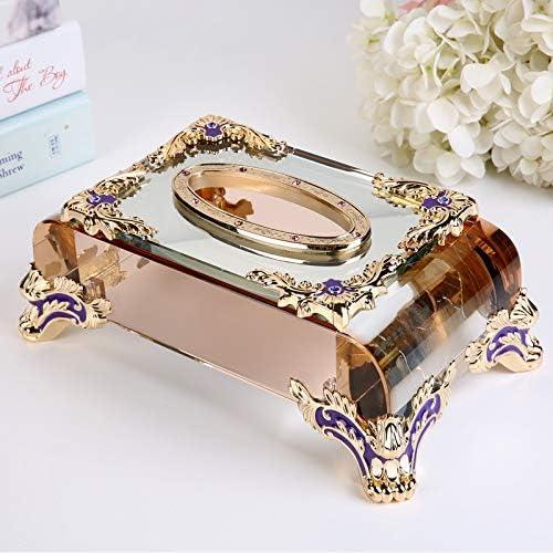 AFQHJ Tissue-Box zu Hause Europäischen Tissue Box Restaurant Serviette Tablett Wohnzimmer Dekoration Kristall-Tablett Tissue Box Cover Gesicht