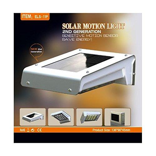 Lasting 16-LED Wireless Solar Motion Sensor Light Outdoor Home Garden Security Lamp, Weatherproof, Built-in Li-ion Battery (New Design 2nd Generation)