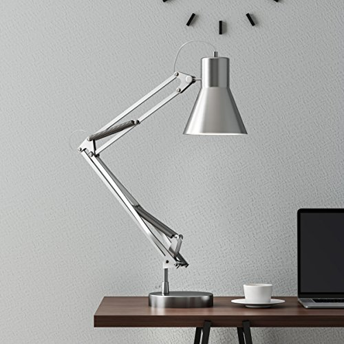Lavish Home Architect Desk Lamp- LED Task Adjustable Swing Arm Office- Includes Energy Efficient Light Bulb (Brushed Steel) Stee -