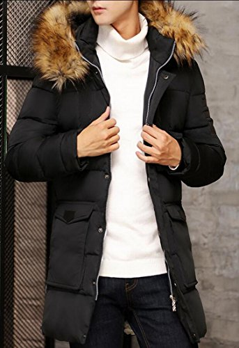 Down M Coat Faux Outwear Fur Hoodie Men's Trench Jacket amp;S Black Causal Long amp;W p7q0rp