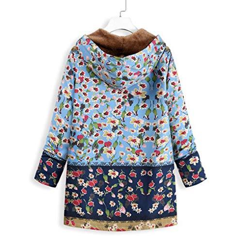 08d2eb84fa47 Chaud Femmes shirt Rétro D hiver Parka Fleurs bleu Polaire Manteau Capuche  Épais Veste À Manteaux D Zippé ...