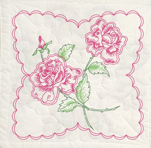 - Fairway 95395 Quilt Blocks, Long Stem Rose Design, White, 6 Blocks Per Set