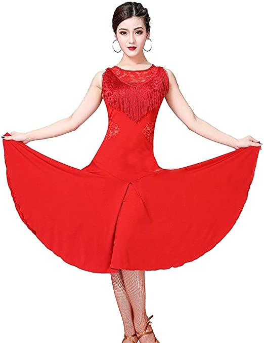 YROYKRRE Fringed Lace Back Salsa Latin Dance Dress with Shorts Ballroom Dance Dresses tango rumba Latin Dance Performance skirt