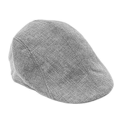 Vintage Mens Harris Tweed - FUNOC Mens Vintage Herringbone Flat Cap Irish Driver Hat newsboy (Gray)