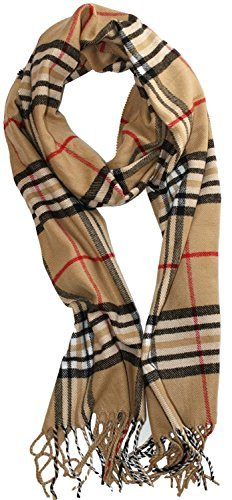 "DG Wear Soft Plaid Check Winter Scarf Warm Oblong 12""x72"" Fringe Unisex (Plaid Wear Check)"
