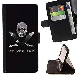 For LG G2 D800 Case , Point Blank Face Machete- la tarjeta de Crédito Slots PU Funda de cuero Monedero caso cubierta de piel