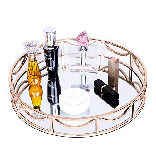 "GLOVAL HOME Round Tray Mirror 14""x2.4""(DxH), Gold Mirror Tray,Perfume Tray,Mirror Vanity Tray,Dresser Tray,Ornate Tray,Metal Decorative Tray,Jewelry Tray,Round Metal Serving Tray,Ottoman Tray"