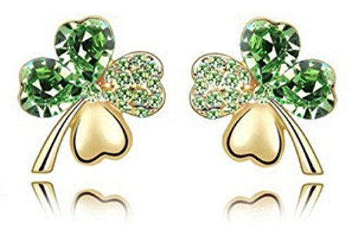 St. Patricks Day Green Shamrock Clover Rhinestone Crystal Earrings by Mammoth Sales