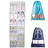 SENHAI Over The Door Shoe Organizer, 65'' x 18.5'', 24 Visible Mesh Fabric Pockets Hanging Shoe Storage for Bedroom Washroom, with 2 Pcs Drawstring Transparent Window Portable Travel Shoe Bags