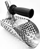 Stainless Steel Metal Detector Sand Scoop/Shovel with Extra Handle for Beach, Water Treasure Hunting