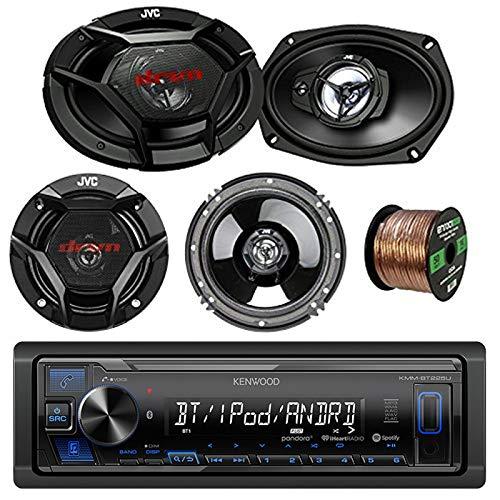 Kenwood Car Stereo Bluetooth Digital Receiver Bundle Combo w/2x JVC CS-DR6930 6x9 Inch 3-Way Vehicle Coaxial Speakers + 2X CS-DR620 6.5 2-Way Audio Speakers + Enrock 50Ft 16g Speaker Wire