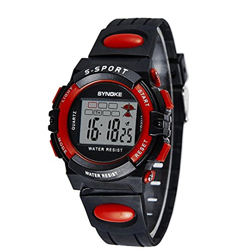 SYNOKE Waterproof Men's LED Digital Quartz Sports Watch (Red) - 7