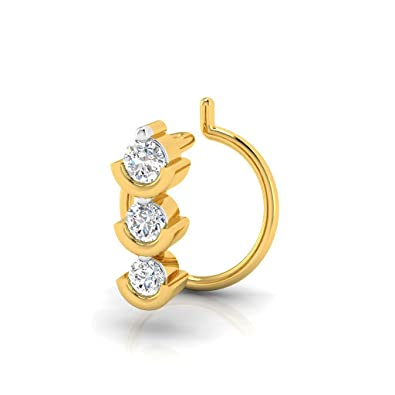 Buy Valentine S Day Pristine Fire 18kt Yellow Gold And Diamond Nose Pin For Women Valentine S Day Gift At Amazon In