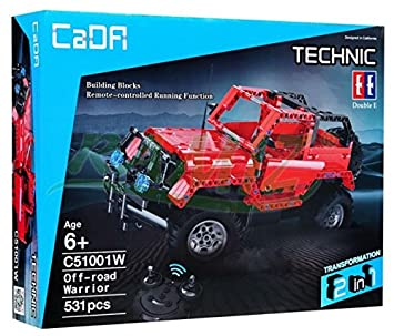 Construction Blocks Build Your Own R/C Off Road Jeep Vehicle   Red