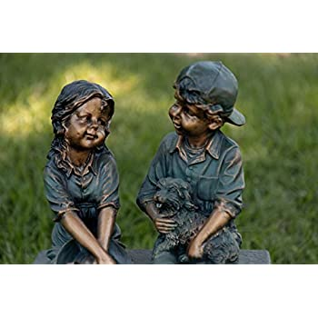 Alpine Girl and Boy Sitting on Bench with Puppy Statue, 16 Inch Tall