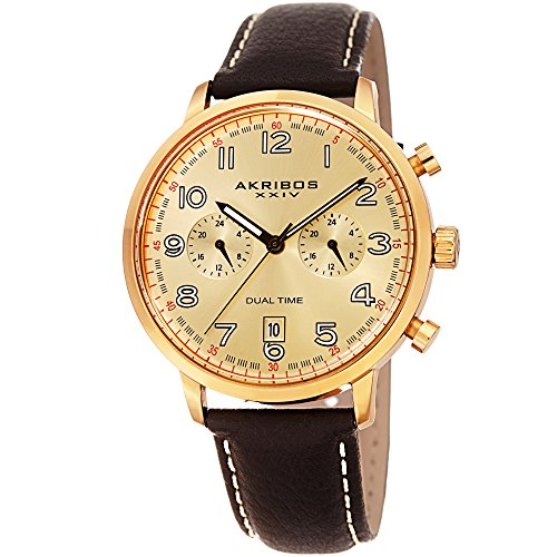 Akribos XXIV Men's Leather Watch – Multifunction Dual Time Chronograph – Brown and Gold Casual Designer Wristwatch with Sunray Dial - (Dual Time Chronograph)