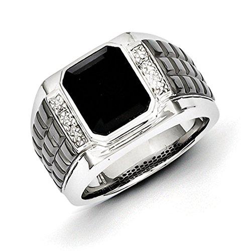 Sterling Silver Diamond & Onyx Square Black Rhodium-plated Men's Ring