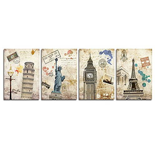 Goupsky Art-Famous Building Artwork Eiffel Tower, Big Ben, New York City, Leaning Tower Of
