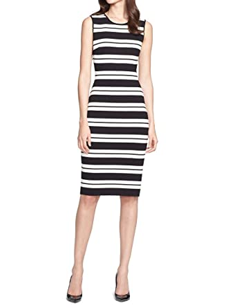 27b51162 Image Unavailable. Image not available for. Color: St. John Collection  Women's Stripe Luxe Sculpture Knit Sheath Dress ...