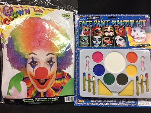 Clown Wig and Deluxe Make Up Kit Great for Dress Up or Circus Party Themes or Halloween