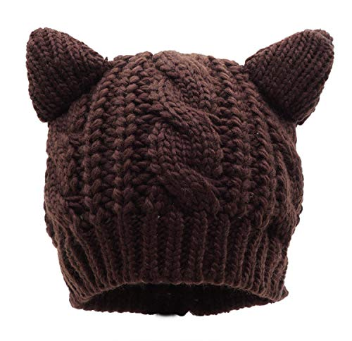 Bellady Kids Girls Cable Knit Children's Winter Hat Beanie with Cat Ear, Coffee_Child