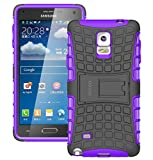 Samsung Galaxy Note 4 Case Cover - Tough Rugged Dual Layer Protective Case with Kickstand for Samsung Galaxy Note 4 - Purple