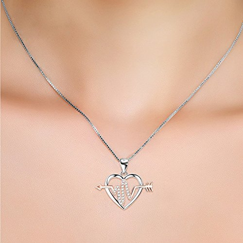 Sterling Silver Heart Beating Women Necklace Pendant Cubic Zirconia White Gold Plated Chain
