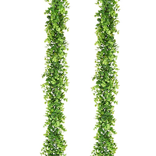(Artiflr Faux Eucalyptus Garland Artificial Vines, 2 Pack Eucalyptus Greenery Garland Wedding Backdrop Arch Wall Decor, 6 Feet/pcs Fake Hanging Plant for Table Festival Party Decorations)