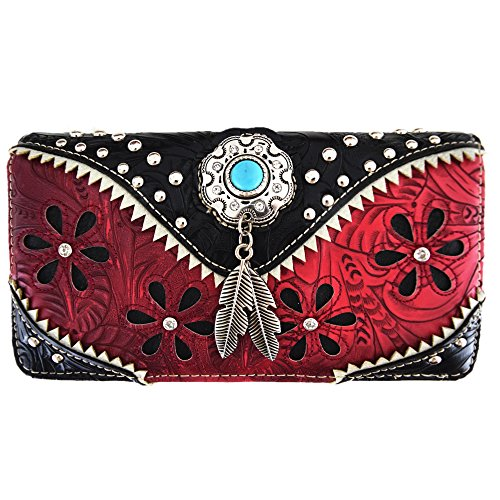 Western Feather Tooled Leather Laser Cut Purse Single Shoulder Bag Clutch Women Blocking Wristlets Wallet ()