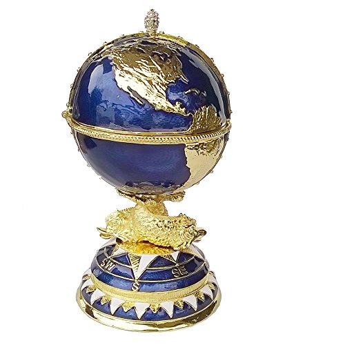 (Hand Painted Hinged Globe Faberge Egg Trinket Box Enameled Easter Egg)