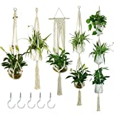 JES&MEDIS 5-Pack Macrame Plant Hangers with 5